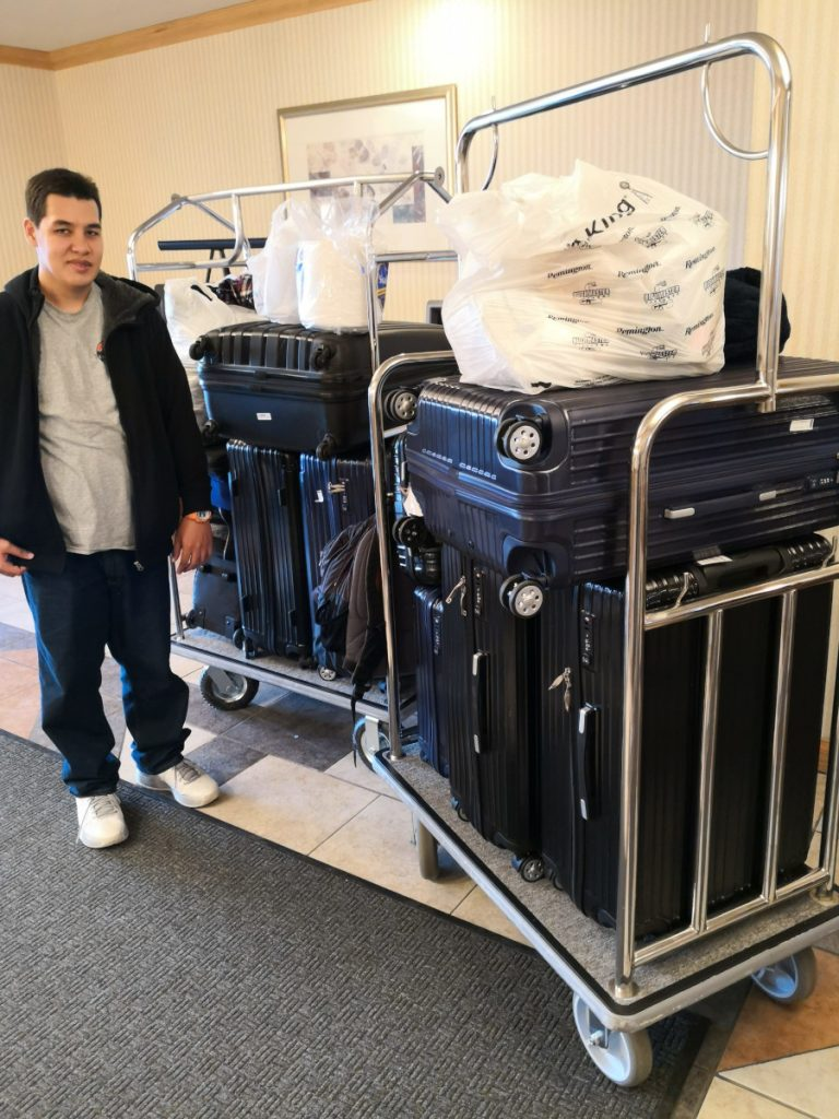 Chris is in charge of our luggage