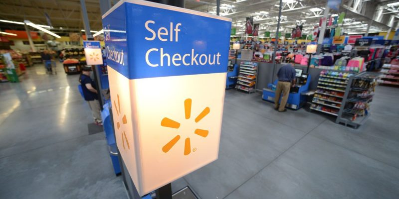 Walmart is famous for their self-checkout area